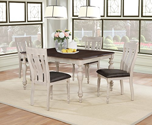 (Roundhill Furniture T7293-C7293-C7293 Arch Weathered Oak Dining Set: Table with Extension Leaf, Four Chairs, Multi)