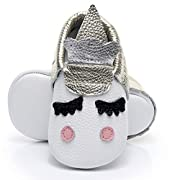 HONGTEYA Unisex Newborn Toddler Christmas Leather Moccasins Pink Crown and Golden Unicorn For Grils Boys Crib Shoes (3-6 Months/US 5/4.72''/See Size Chart, Gold)
