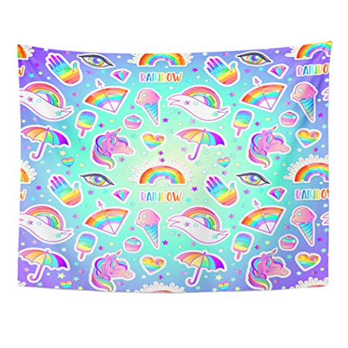Tarolo Decor Wall Tapestry Colorful Rainbow Pattern Candies Sweets Ice Cream Unicorn Umbrella Hand Pins Patches Halloween Pastel 60 x 50 Inches Wall Hanging Picnic for Bedroom Living Room Dorm ()
