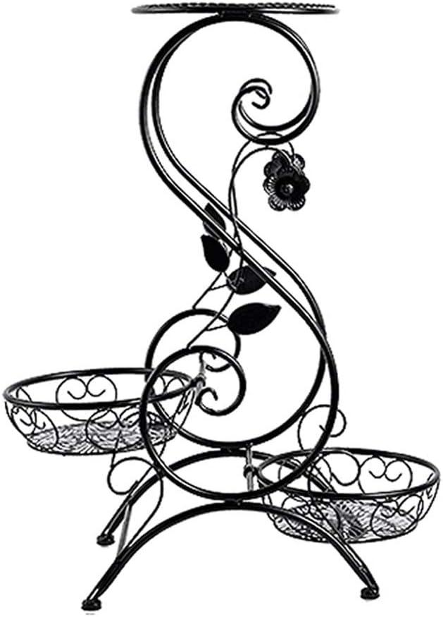 LI MING SHOP-Estante de flores WLM Stand Blumen-Stand-Metallboden-Art 3 Topfpflanze-Ausstellungsstand, Schwarz A+ (Size : L)