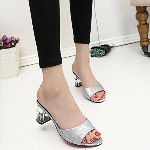 Elevin(TM)Women Summer Fashion Bohemia PeepToe High Heel Sandals Loafers Slipper Shoes Silver fF3nUVt