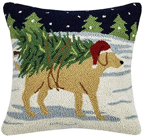(Peking Handicraft Yellow Labrador Retriever Christmas Tree Haul Hooked Dog Pillow - 16
