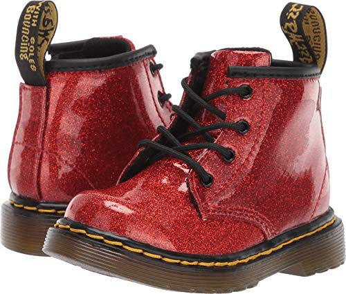 Dr. Martens Kid's Collection Baby Girl's 1460 Glitter Stars Brooklee Boot (Toddler) Red Glitter Stars Pu 4 M UK -