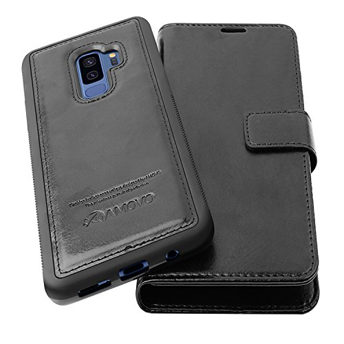 AMOVO Case for Galaxy S9 Plus [2 in 1], Samsung Galaxy S9 Plus Wallet Case [Detachable Wallet Folio] [Premium Vegan Leather] Samsung S9 Plus Flip Case Cover with Gift Box Package (Black, S9+) by Amovo (Image #7)