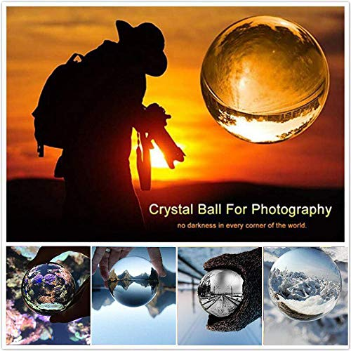 JIHUI Crystal Ball Photography Lensball, K9 Crystal Ball Clear 3-1/5'' (80mm) with Crystal Stand and Pouch for Decorative Photography Prop by JIHUI (Image #4)