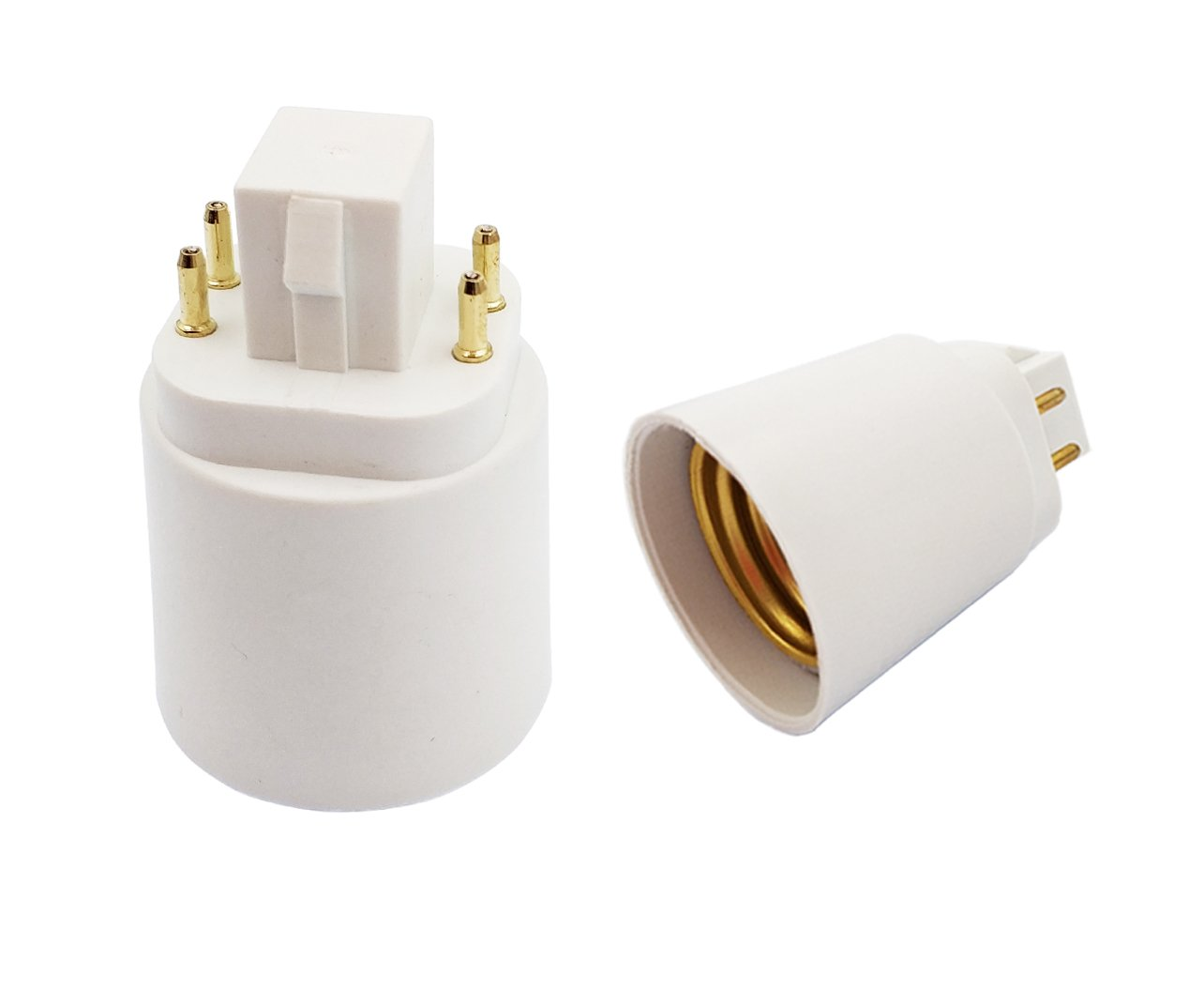 E-Simpo GX24Q To E26 Adapter 4P 15.5mm G24Q to E27 adapter, Gx24q to E26 Lamp Base Converter,Rohs, Short Center Square Part, for USA Applications! Need Bypass the inside Ballast! (16-Pack)