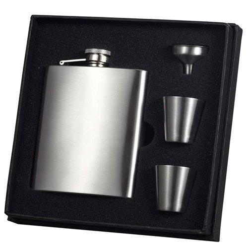 Visol Derek Satin Finish 8oz Deluxe Flask Gift Set (Set of 6)