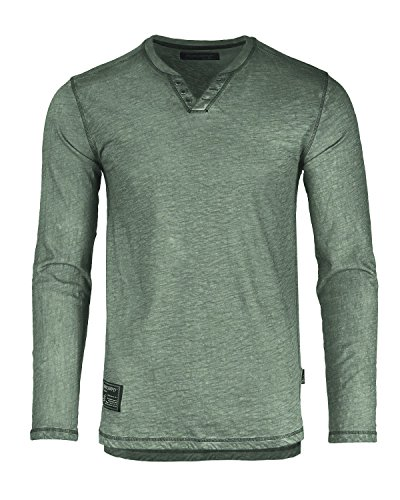 - Dream Supply Mens Long Sleeve V-Neck Henley Oil Wash Contrast Seam Vintage Shirt Military Green