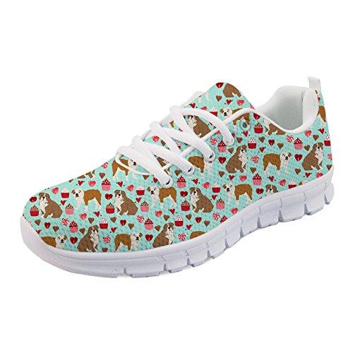 Women Mesh Walking Cute Pediatrics Coloranimal 4 Running Bulldog Shoes Air Flat Print Nurse Ix4wUwRO