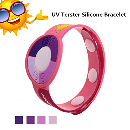 (Outdoor UV Tester Band,MBODM UV Meter Testing Ultraviolet Bracelet Watch Rays Sensor Indicator Detector Color Changing in Sunshine Best Gift for Friends/Loves Skin Protection - 3 PCS (Pink))