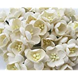 100 Pure White Mulberry Roses 10 - 15 mm. Paper Flowers Scrapbooking Embellishment
