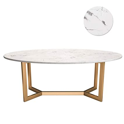 Modern Oval White Marble Coffee Table Simple And Irregular Gold