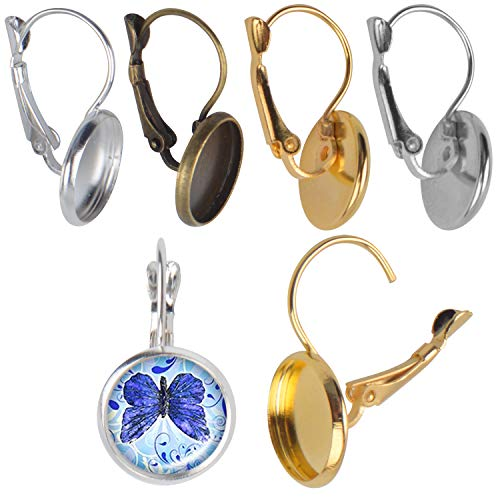 24 Pieces Lever Back Hoop Earrings with Flat Round Tray Ear Wires Blank Cabochon Setting for Earring Designs Jewelry Making - 12 mm Tray, 4 Colors