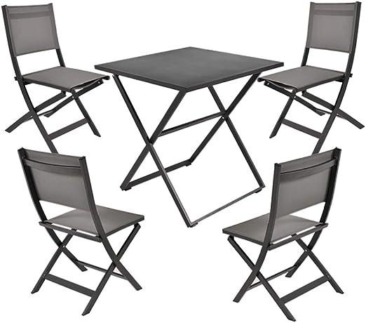 Garden Art Premium Line Juego de 5 Muebles de jardín, 4 sillas de jardín, 1 Mesa de jardín, Silla Plegable de Aluminio Resistente a la Intemperie: Amazon.es: Jardín