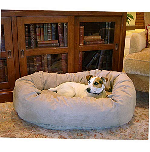 Hebel Bagel Dog Pet Bed - Suede | Model SF - 480 | Medium - (40L x 31W x 9H in.)