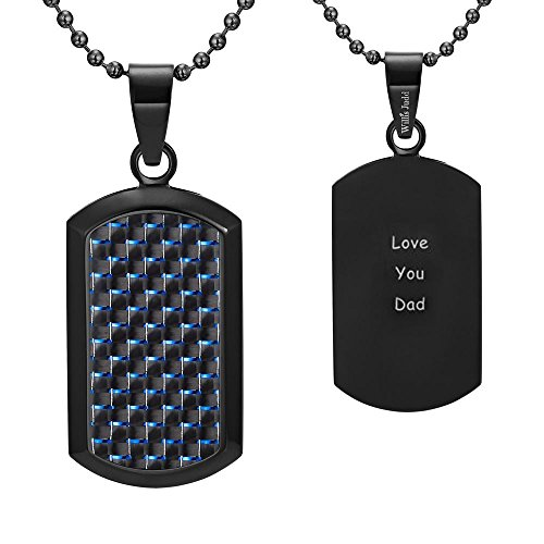 Dog Tag Pendant with Blue Carbon Fiber engraved Love You Dad with 22