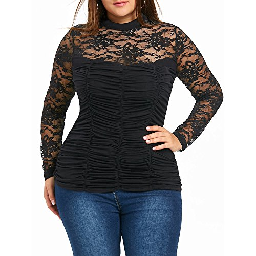 Londony, Plus Size Clothing for Women Hollow Lace Neck Long Sleeve Black Blouse Tops Shirt