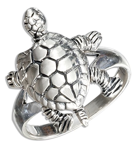 Sterling Silver High Polish Movable Turtle Ring (size 09)