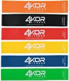 4 KOR Fitness Set of 6 Resistance Loop Bands (12 x 2-Inch) with Carrying Case and Exercise Booklet