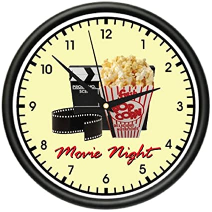 Amazon.com: MOVIE NIGHT Wall Clock home theater theatre decor art ...