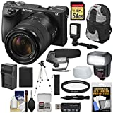 Sony Alpha A6500 4K Wi-Fi Digital Camera & 18-135mm Lens with 64GB Card + Battery & Charger + Backpack + Tripod + Video Light + Microphone + Kit