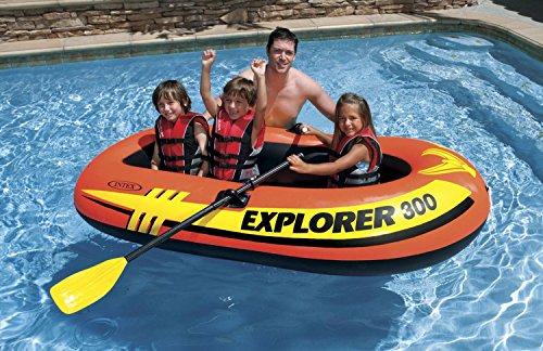 Intex Explorer Boat Set ~ Includes 300 Boat 2 Oars and Air Pump (300 Boat)