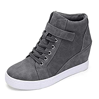 Athlefit Women's Lace Up Wedge Sneakers High Top Fashion Sneakers Ankle Booties Size 9.5 Grey