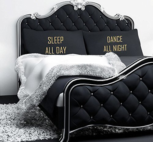60 Second Makeover Limited Sleep All Day Dance All Night Black with Gold Text Pillowcase Pair of Teenagers Pillowcases Pillow Case Gift Bedding Present Students by 60 Second Makeover Limited