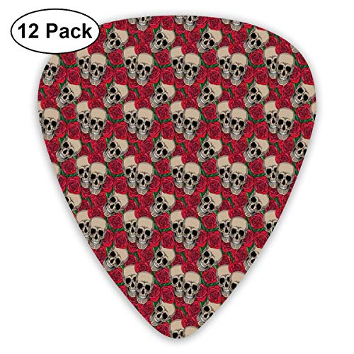 Guitar Picks - Abstract Art Colorful Designs,Graphic Skulls And Red Rose Blossoms Halloween Inspired Retro Gothic Pattern,Unique Guitar Gift,For Bass Electric & Acoustic Guitars-12 Pack]()