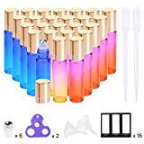 Essential Oil Roller Bottles 10ml (Rainbow Glass Bottle, 24 pack, 6 Extra Stainless Steel Roller Balls, 48 Labels, 2 Openers, 2 Funnels by PrettyCare) Roller Balls For Essential Oils, Roll on Bottle