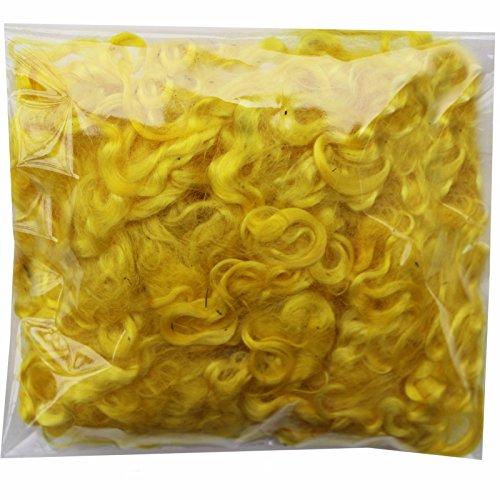 Mohair Fiber - Real Mohair Wool Locks, Organic Hand Dyed Fiber for Felting, Blending, Spinning, Knitting, Doll Hair and Embellishments. 1 Ounce Yellow