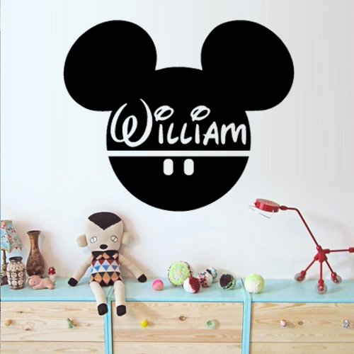 Write Your Name Mickey Mouse Wall Decal Vinyl Sticker Decals Art Decor Disney Custom Baby Name Head Mice Ears Mickey Mouse Gift Kid Children Nursery (M1374) -