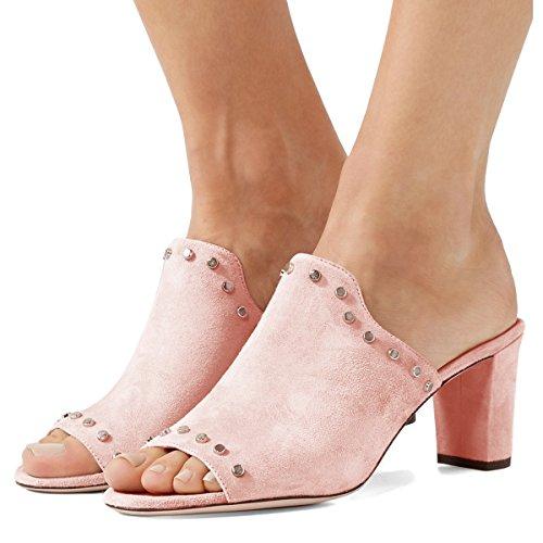 Fsj Donne Peep Toe Muli Grosso Sandali Tacco Con Borchie Slittamento Casuale Sui Scarpe Estive Dimensioni 4-15 Noi Pink-suede