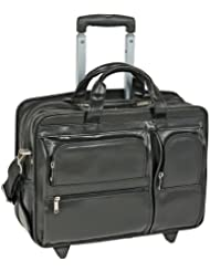 17' Clinton Leather 2-in-1 Removable-Wheeled Laptop Case