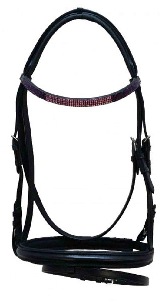 Warm-blooded High Quality English Leather Snaffle Sugil Black, Includes Reins