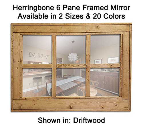 Herringbone Large Mirror Over The Couch Mirror Rustic Decor Reclaimed Wooden Framed Mirror EX Large Wall Mirror Available in 4 Sizes and 20 Colors: Shown in Classic Gray Rustic Modern Home