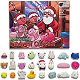 Toy Advent Calendar 2018 with 24 different cute mochi squishies including Santa! Super gift for girl, boy, all children! 24 kawaii squishy toys! SANTA'S WORKSHOP Toy Advent Calendars