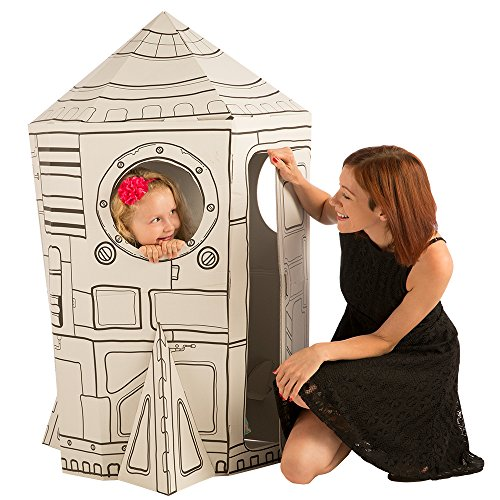 Cardboard Playhouse for Kids to Color - Create an Easy Rocket Ship with Included Markers and Over 40 Glow-in-The-Dark Stickers! (Your Child Can Discover)