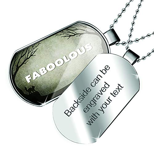 NEONBLOND Personalized Name Engraved Faboolous Halloween Graveyard Dogtag Necklace]()