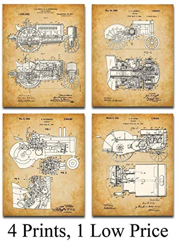 Original John Deere Tractors Patent Art Prints - Set of Four Photos (8x10) Unframed - Makes a Great Gift Under $20 for Farmers or Country Decor