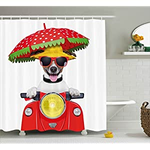Ambesonne Animal Shower Curtain, Dog with a Hat and Sunglasses Driving Motorcycle Under An Umbrella Funny Holiday Image, Fabric Bathroom Decor Set with Hooks, 75 Inches Long, Red