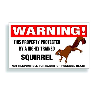 Warning Decal, Property Protected By A Highly Trained - Squirrel Bumper, Fence Or Window Sticker - 5.75x3.25 inch