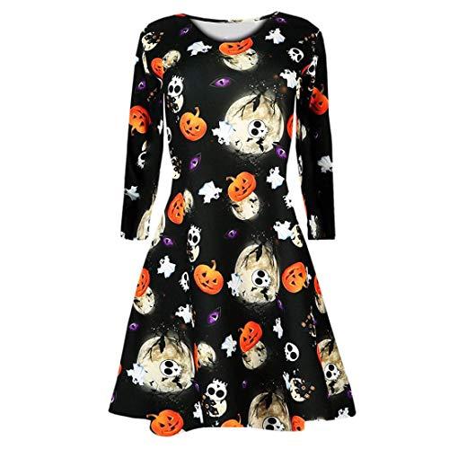 Ladies Halloween Dresses Promotion! Womens Girls Pumpkins Skull Spider Bat Print Halloween Evening Prom Costume Swing Dress(Black -