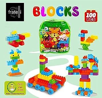FRATELLI Building Blocks for Kids - Certified European Saftey Standards (100 PCS Green Bag…
