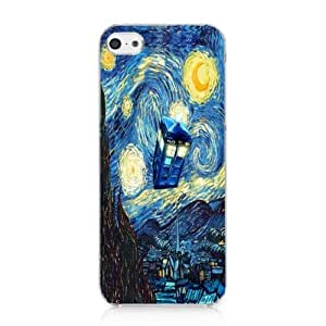 CRHK? Doctor Who Tardis Vincent Van Gogh Pattern Clear Back Skin Snap on Case Cover for 2013 Apple iPhone 5C + Screen Protector + CRHK stylus