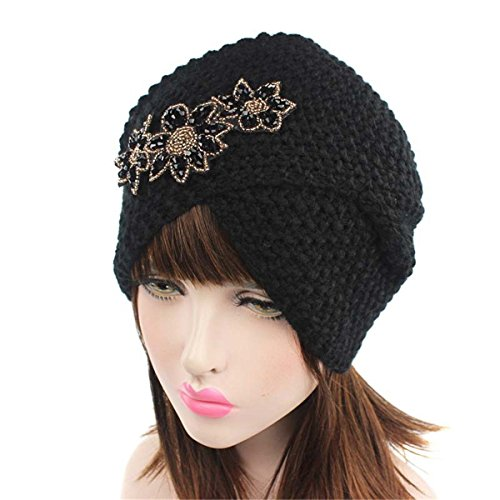 Qhome Ladies Winter Warm Turban Soft Knit Headband Beanie Crochet Headwrap Women Hat Cap with Beaded Jewelry by Qhome cap (Image #3)