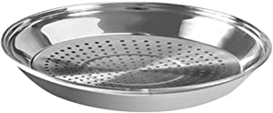Hemoton Stainless Steel Steaming Racks with Holes Vegetable Steamer Insert Dish Plate Steaming Tray Stand Basket for Veggie Fish Seafood Cooking 34cm