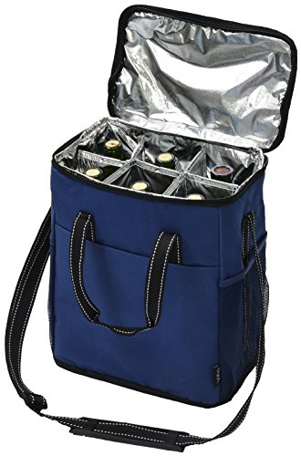 Vina 6 Bottle Wine Carrier - Travel Insulated Wine Carrying Case Tote Bag for Champagne Picnic Cooler Blue (Wine Bottle Cooler Bag compare prices)