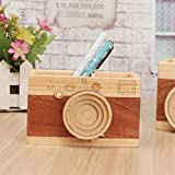 Avighna Wooden Camera Shaped Pen Stand/Pen Holder/Desk Organizer with 2 compartments