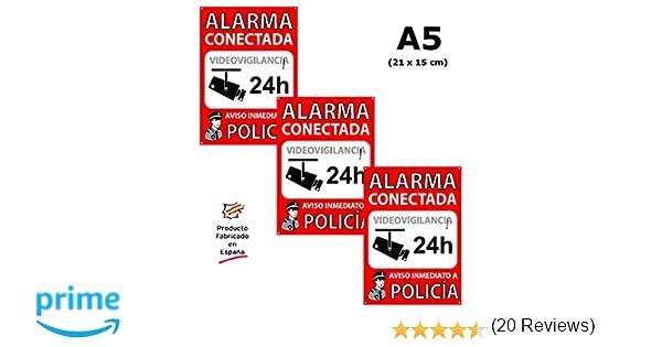 Pack o Lote de 3 Carteles disuasorios A5 interior/exterior, placa disuasoria PVC expandido, cartel alarma conectada, 21x15 cm, rojo